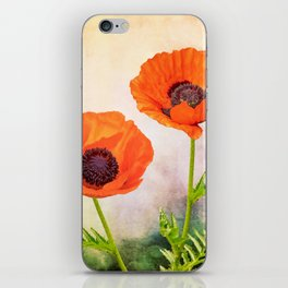 Two beautiful poppies with textures iPhone Skin