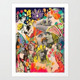 Vintage Ladies Early Century Pop Art Graffiti Collage by Emmanuel Signorino Art Print