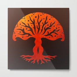 Tree of Life Woodcut Metal Print