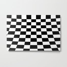 Warped perspective coloured checker board effect grid illustration black and white Metal Print