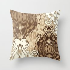 Ikat Medallions: Brown Throw Pillow