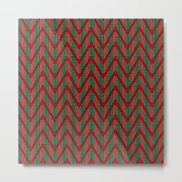Yuletide Green and Red Polka Stripes and Zig Zag Pattern Metal Print