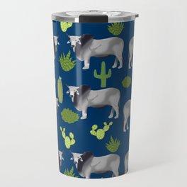 Brahman Cattle cactus southwest farm farming homestead animals Travel Mug