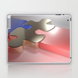 Golden puzzle joins blue and pink puzzle pieces - 3D rendering Laptop & iPad Skin