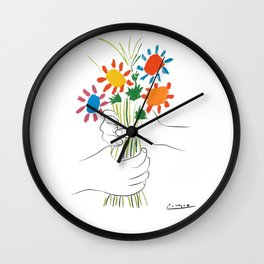Picasso le bouquet colorful floral positive wall art, anti war print, room decor, picasso Wall Clock