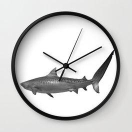 Tiger Shark, Black & White Wall Clock