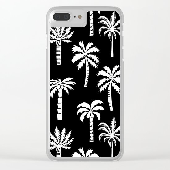 Palm Trees linocut black and white tropical summer art minimalist decor Clear iPhone Case