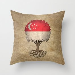 Vintage Tree of Life with Flag of Singapore Throw Pillow