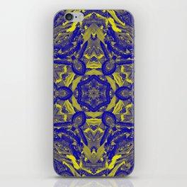 Abstract kaleidoscope of wattle blooms on textured background iPhone Skin