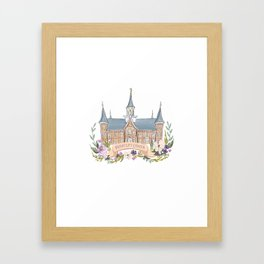 Provo City Center LDS watercolor Temple with flower wreath  Framed Art Print