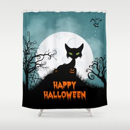 Scary Halloween Cat on a Hill Shower Curtain