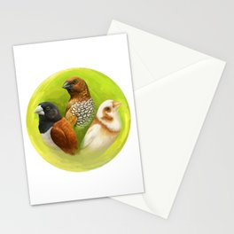 Munia finches realistic painting Stationery Cards