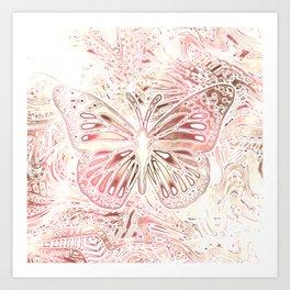 Monarch Butterfly In Pastel Pink Art Print