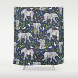 Baby Elephants and Egrets in Watercolor - navy blue Shower Curtain