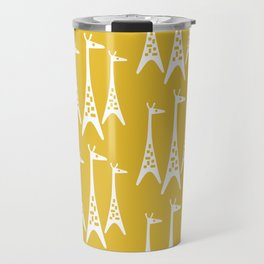 Mid Century Modern Giraffe Pattern 221 Mustard Yellow Travel Mug