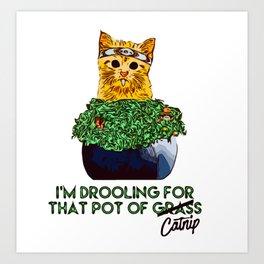 Drooling Pot Cat Art Print