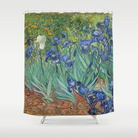 van gogh Shower Curtains featuring Vincent van Gogh - Irises by Elegant Chaos Gallery