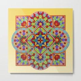 Chartres Mandala - yellow ground Metal Print