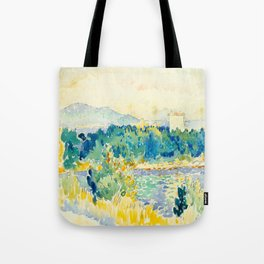 Mediterranean Landscape With a White House Watercolor Landscape Painting Tote Bag
