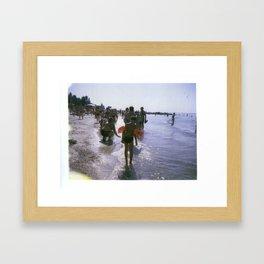 Little Boy with Arm Floaties Framed Art Print