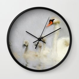 Pen and her Cygnets Wall Clock