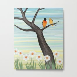 Orioles and daffodils Metal Print