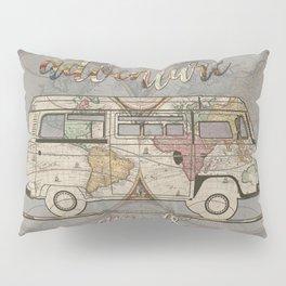 adventure awaits world map design 1 Pillow Sham