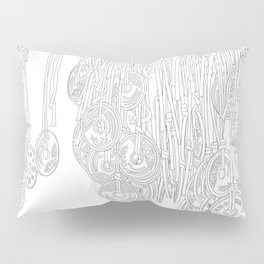 Happy Five Yen Coins - Line Art Pillow Sham