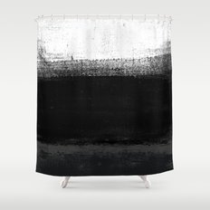 Ocean No. 2 - Minimal ocean abstract painting in black and white Shower Curtain