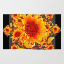 BLACK-GREY RED SUNFLOWERS PATTERS Rug