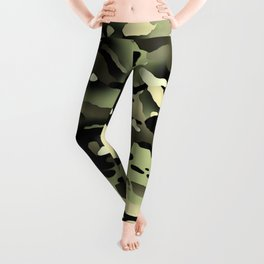 Camouflage: Black & Green Leggings