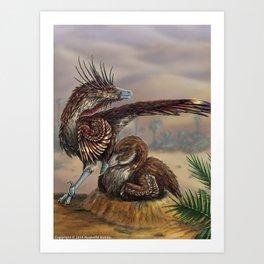 Brooding Velociraptors Art Print