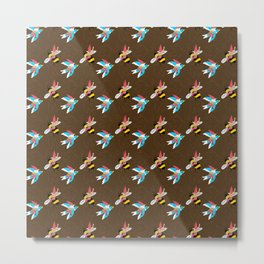 The Birds and the Bees and the Gnomes - Brown Metal Print