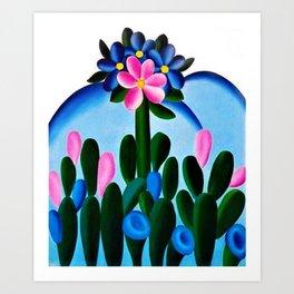 Classical Masterpiece 'Manacá' Desert Bluebell Flowers by Tarsila do Amaral Art Print