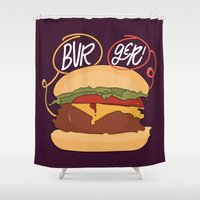 burger Shower Curtains featuring Burger! by Chelsea Herrick