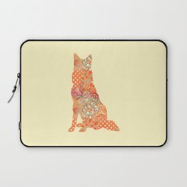 Belgian Shepherd Dog Vintage Floral Pattern Orange Cream Shabby Chic Laptop Sleeve