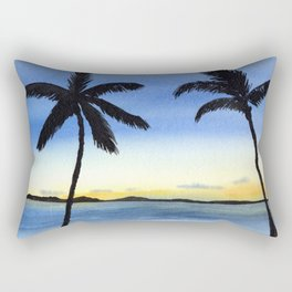 Palm Trees with Sunset by the Ocean Rectangular Pillow