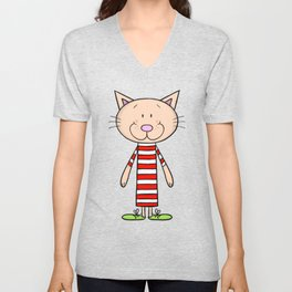Long funny cat Unisex V-Neck