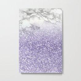 She Sparkles - Violet Purple Glitter Marble Metal Print