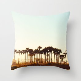 Palm Trees Bathing at Sunrise Throw Pillow