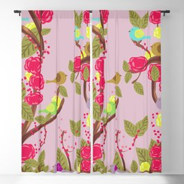 Vintage Birds and flowers Blackout Curtain