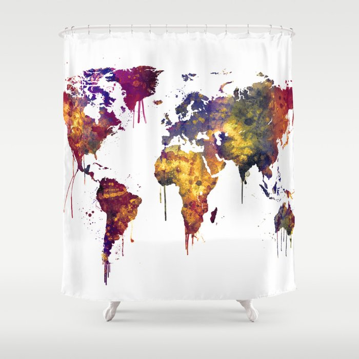 Watercolor Map of the World Map Shower Curtain by artpause | Society6