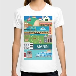 Marin County, California - Collage Illustration by Loose Petals T-shirt