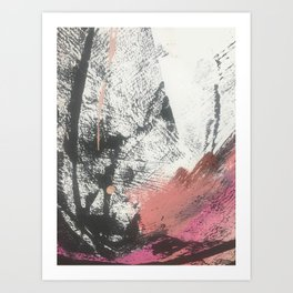 Good Feels: A bright, minimal abstract piece in pink, black and white by Alyssa Hamilton Art Art Print