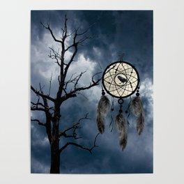 Black Bird Crow Tree Dream Catcher Night Moon A082 Poster