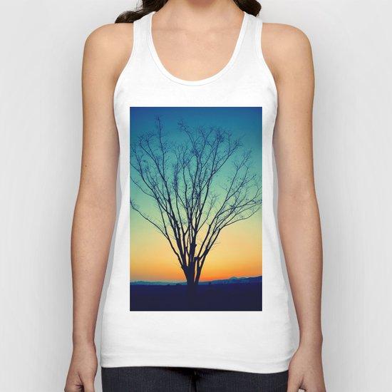 Winter Sunset Tree Unisex Tank Top
