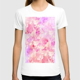 Girly Pink and Purple Painted Sparkly Watercolor T-shirt