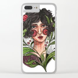 short hair lady in the twenties ink watercolor portrait illustration Clear iPhone Case