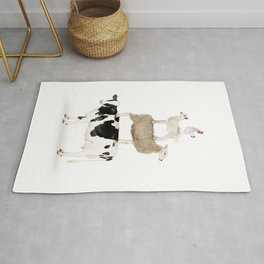 Four Stacked Farm Animals Rug