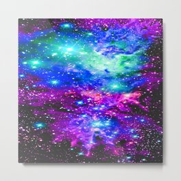 Fox Fur Nebula Galaxy Pink Purple Blue Metal Print